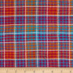 Hudson Bay Crinkle Plaid Check Blue/Pink Fabric