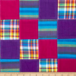 Madras Plaid Patchwork Purple Fabric