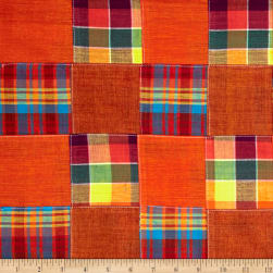 Madras Plaid Patchwork Orange Fabric