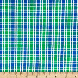 Seersucker Small Plaid Blue/Green/White Fabric
