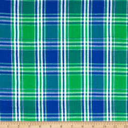 Seersucker Large Plaid Blue/Green/White Fabric