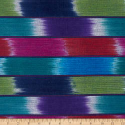 Sunburst Wide Stripe Shirting Fuchsia/Purple/Green Fabric