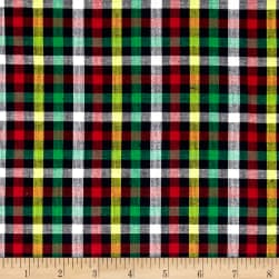 Rustic Woven Check Navy/Red/Green/Yellow Fabric