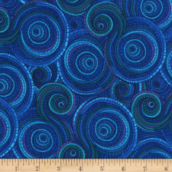 Timeless Treasures Mosaic Plume Swirl Blue