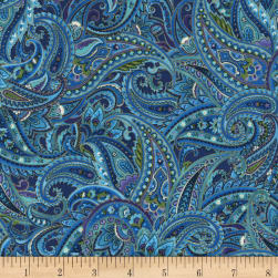 Timeless Treasures Suffolk Metallic Paisley Blue