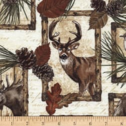 Timeless Treasures Flannel Cabin Rules Deer, Bear and Moose Patch Cream