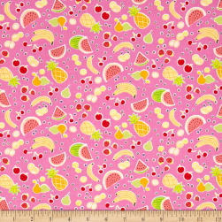 Michael Miller Novelties Yummy Fruits Pink Fabric