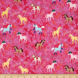 Michael Miller Novelties Pretty Ponies Pink Fabric