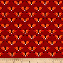 Kaufman Paintbox Pacific Butterflies Flame Fabric
