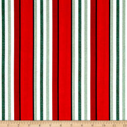 Timeless Treasures Fresh Cut Awning Stripe Red Fabric