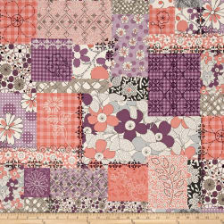 Stitcher's Garden Collage Plum Fabric