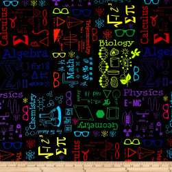 Geekery Scientifically Speaking Multi Mavro Fabric