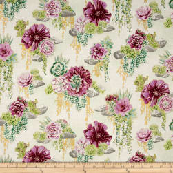 Oasis Metallic Tranquil Trail Thistle Fabric
