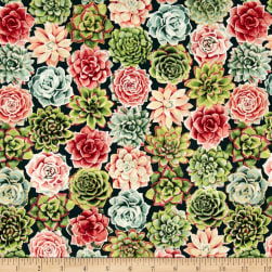 Oasis Metallic Radiant Rosettes Coral Fabric