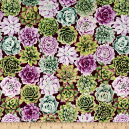 Oasis Metallic Radiant Rosettes Thistle Fabric
