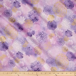 Oasis Metallic Summer Blooms Thistle Fabric