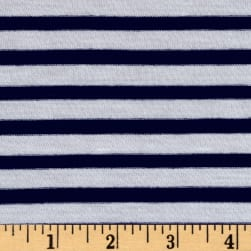 Designer Jersey Knit Stripe Nautical Navy/White Fabric
