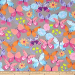 Winter Fleece April Butterfly Grey Fabric