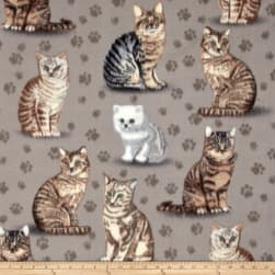 Winter Fleece Purrfect Grey Fabric