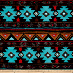 Winter Fleece Peace Stripe Turquoise Fabric