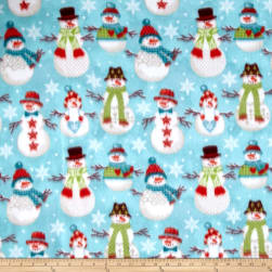 Winter Fleece Folk Snowmen Fabric