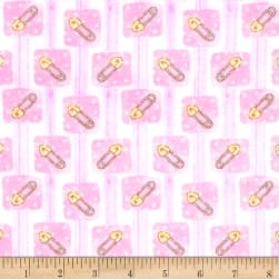 Bedtime Bears Sweet Safety Pins Flannel Pink/Magenta Fabric