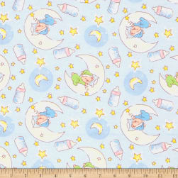 Bedtime Bears Flannel Blue/Green Fabric