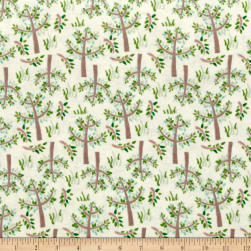 Jungle Giraffe Trees and Grass Flannel Cream Fabric