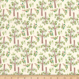 Jungle Giraffe Trees and Grass Flannel Lime Fabric