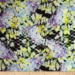 Telio Digital Linen Floral Print Purple/Yellow Fabric