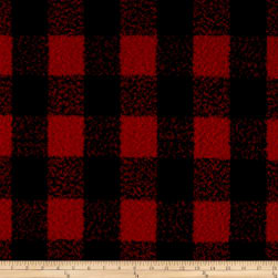 Telio Addison Wool Plaid Red/Black Fabric