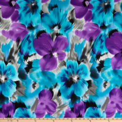 Telio Brazil Stretch ITY Knit Floral Teal/Purple Fabric
