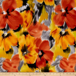 Telio Brazil Stretch ITY Knit Floral Yellow Fabric