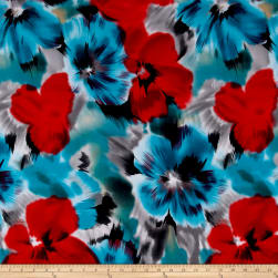 Telio Brazil Stretch ITY Knit Floral Red/Blue Fabric
