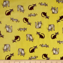 Telio Rayon Voile Cat Print Yellow Fabric