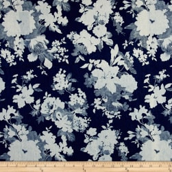 Telio Stretch Denim Flower Print Dark Blue Fabric