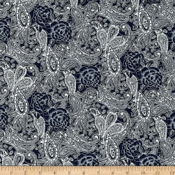 Telio Stretch Denim Paisley Print Dark Blue Fabric