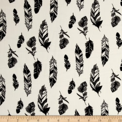 Telio Pebble Crepe Feather Print White/Black Fabric