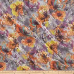 Telio Kimono Chiffon Watercolor Floral Print Purple/Orange Fabric