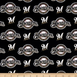 MLB Cotton Broadcloth Milwaukee Brewers Black/White Fabric