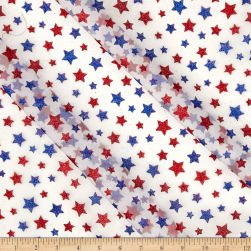 Glitter Patriotic Stars on White Organza Fabric