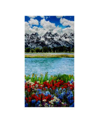 Mountain Majesties Digital Print Scenic Spring Fabric