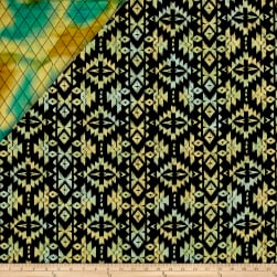Indian Batik Double Face Quilted Medallion Aqua Yellow