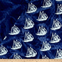 Indian Batik Double Face Quilted Boats White Fabric