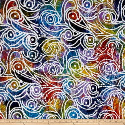 Indian Batik Cascades Scroll Dark Multi