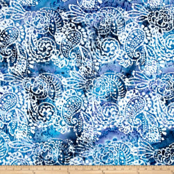 Indian Batik Cascades Paisley Blue Fabric