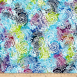 Indian Batik Cascades Paisley Green/Blue/Purple Fabric