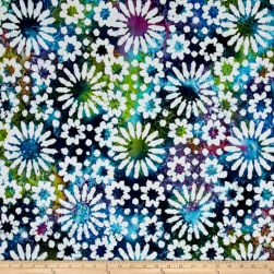 Indian Batik Cascades Daisy Green/Blue/Purple Fabric