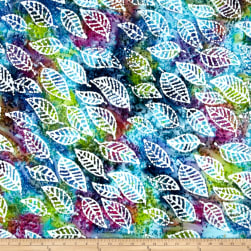 Indian Batik Cascades Leaf Green/Blue/Purple Fabric