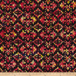 Indian Batik Sierra Nevada Southwest  Stripe Motif Black Lt Multi